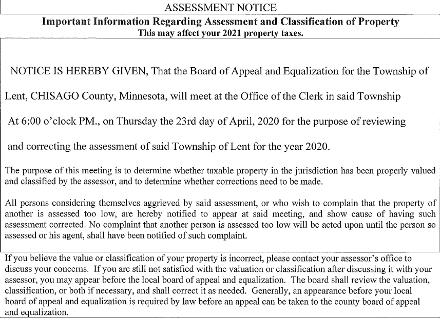 Board of Appeal and Equalization Meeting