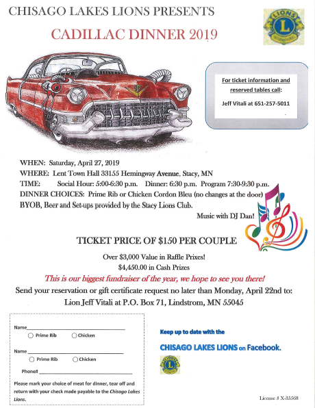 Chisago Lions Cadillac Dinner 2019
