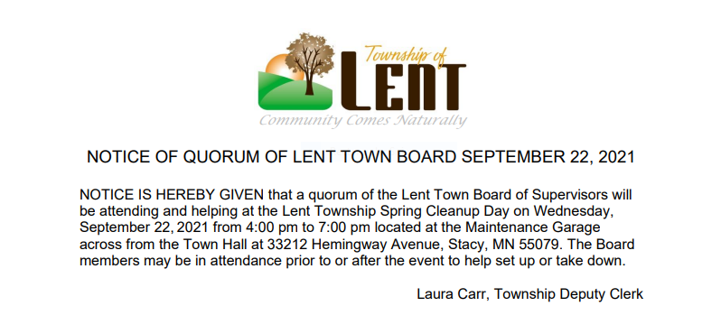 Notice of Quorum for Town Board for Fall Clean Up Day