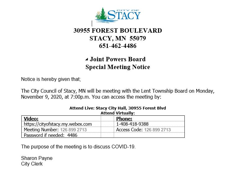 Joint Powers Board Special Meeting